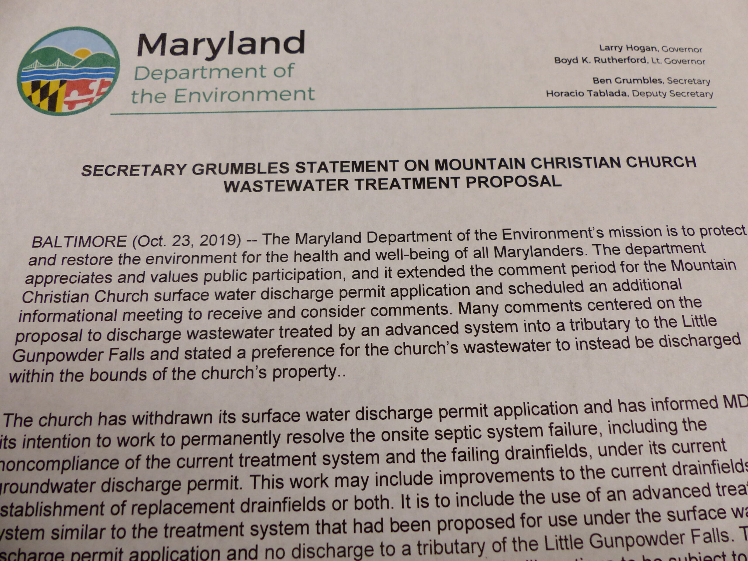 MDE Press Release on Mountain Christian Church Indicates that the  Surface Discharge Permit Application was Withdrawn