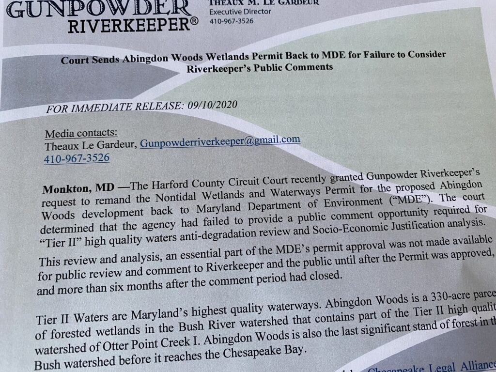Harford Circuit Courts Agrees with Gunpowder Riverkeeper on failure of MDE to consider Environmental Comments on Abingdon Woods Wetlands and Waterways Permit